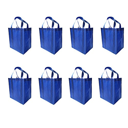 LIHI Bag Large & Heavy Duty Reusable Nonwoven Fabric Grocery Shopping Tote Bags With Hanging Loop & Removable Wrapped Bottom Insert and Reinforced Handles For Strength (8 Pack, (Reusable Recyclable Tote Bag)