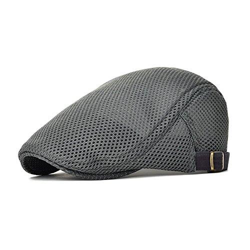 - King Star Men Breathable Mesh Summer Hat Newsboy Beret Ivy Cap Cabbie Flat Cap Grey