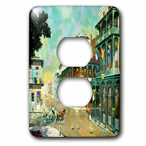 3dRose lsp_80614_6 Painting Of New Orleans Just Before Mardi Gras Plug Outlet Cover