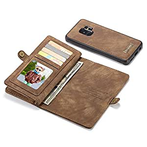 Galaxy S9 Plus Case,Galaxy S9 Plus Wallet Case, Esing Folio Zipper Purse Leather Cover Cases for Samsung Galaxy S9 Plus Detachable Magnetic Case with Flip Credit Card Slots Stand Holder(Coffee)