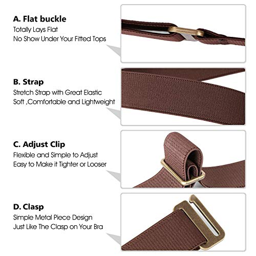 No Show Women Stretch Belt Invisible Elastic Web Strap Belt with Flat Buckle for Jeans Pants Dresses (Suit for US Size 0-16,Coffee-Brass Buckle)
