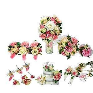 Pink and Cream 20pc Silk Flower Wedding Bouquet Set By, NV Creations, LLC 68