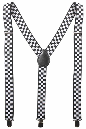Adult Checkered Black and White Elastic Y-Shape Suspender (Boys Checkered Suspenders)