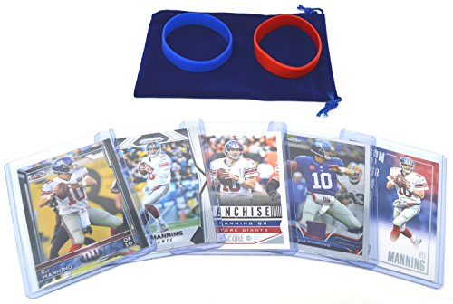 Eli Manning Football Cards Assorted (5) Bundle - New York Giants Trading Cards # 10 (Most Popular Baseball Players Of All Time)