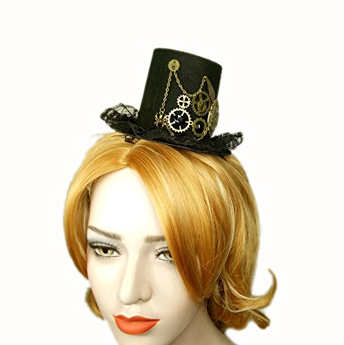 Hat Top Accessory (MEiySH Women's Steampunk Victorian Mini Top Hat Gothic Hair Clip Costume Accessory (Black-Lace))