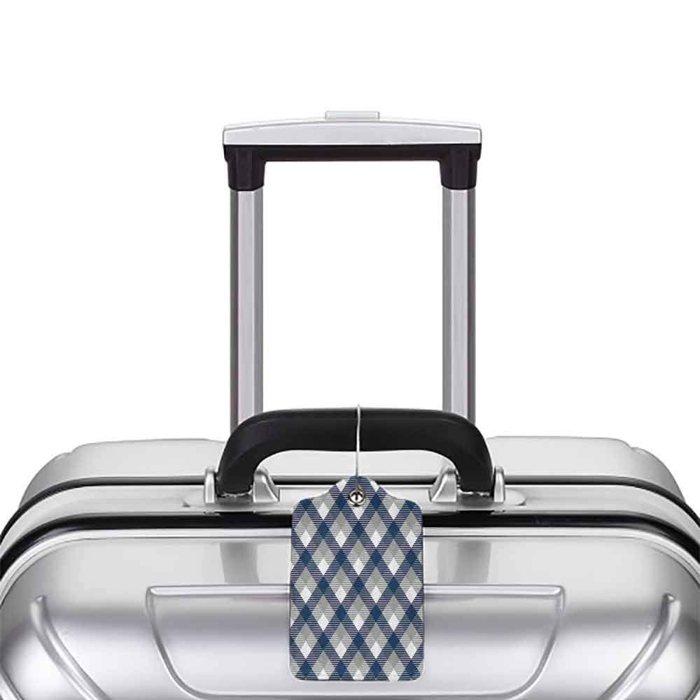 Multicolor luggage tag Navy Abstract Checkered Tartan Geometric Classic Squares with Scottish Effects Hanging on the suitcase Dimgrey White Dark Blue W2.7 x L4.6