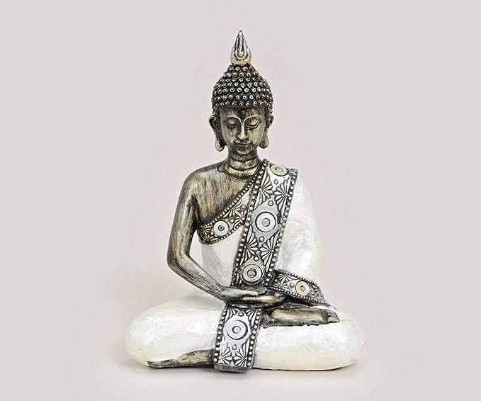 Thai Buddha Figur Dekobuddha Buddhafigur Feng Shui sitzend 21 cm weiß silber