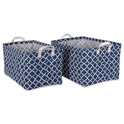 DII Cotton/Polyester Laundry Basket Assorted Large Bins, Medium, Nautical Blue