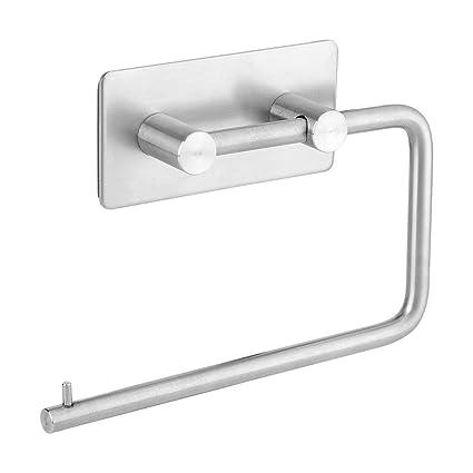 Autoadhesivas papel higiénico rollo de tejido de acero inoxidable percha pared dispensador de toalla hogar baño