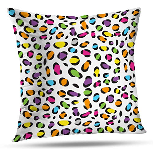 (Kutita Animal Print Decorative Pillow Covers, Colorful Wildlife and Animal Abstract Fancy Africa Cat Cheetah Chic Throw Pillow Decor Bedroom Livingroom Sofa 18X18 inch)