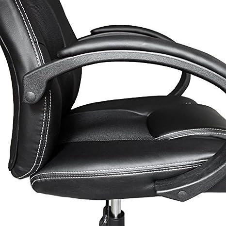 Vingo® PU - Silla con muy alta calidad acolchado silla de oficina giratoria ergonómico comodidad, color negro: Amazon.es: Hogar