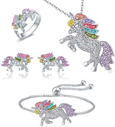 Whaline Unicorn Jewelry Set, Include Rainbow Rhinestone Crystal Necklace, Bracelet, Earring, Ring and Gift Box for Girls Gift Set