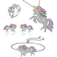 Whaline 4 Pack Unicorn Jewelry Set, Include Rainbow Rhinestone Crystal Necklace, Bracelet,...