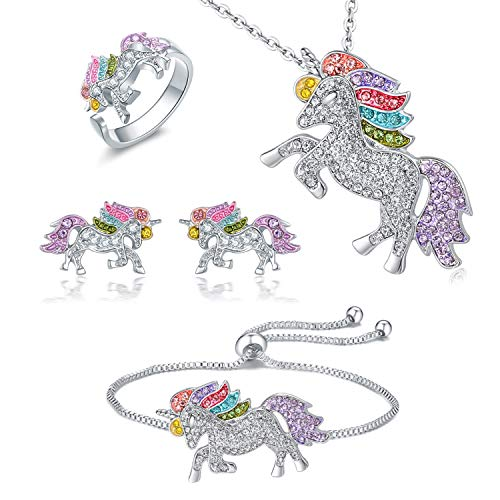 Whaline 4 Pack Unicorn Jewelry Set, Include Rainbow Rhinestone Crystal Necklace, Bracelet, Earring and Ring for Girls Gift Set -