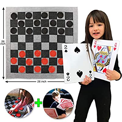 Elite Sportz Jumbo Checkers Rug Game, Large Playing Cards and Tic Tac Toe. 3 Jumbo Kids Games That'll Keep Kids Busy for Hours. Durable ZipUp Carry Bag for Storage. The Kids Will Love You For This