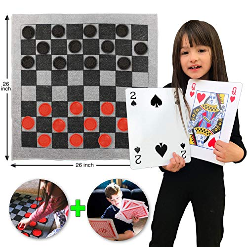 Elite Sportz Jumbo Playing Cards and Giant Checkers Combo - Giant Indoor Outdoor Yard Games Including a Giant Checkers Rug for Kids, Tic Tac Toe and Large Cards - Durable Zipup Carry Bag for Storage (Elite Cards Playing)