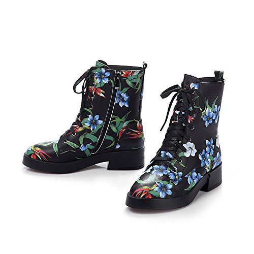 Style Blackfloral and heels Curves Bottom Low Closed with AmoonyFashion Round toe Boots Rubber toe Women's wfS6PqO