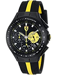 Ferrari Mens 0830025 Race Day Stainless Steel Watch with Yellow-Striped Black Silicone Strap