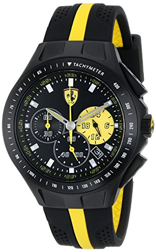 Ferrari-Mens-0830025-Race-Day-Stainless-Steel-Watch-with-Yellow-Striped-Black-Silicone-Strap