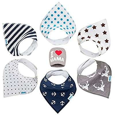 Bandana Baby Bibs for Boys and Girls, with Snaps, 6 Pack Gift Set for Feeding, Drooling, Teething, PLUS FREE I LOVE MAMA Hat - BEST BABY SHOWER GIFTS for Mom, for newborn Baby, CUTE and Soft bib by ABbaby that we recomend personally.