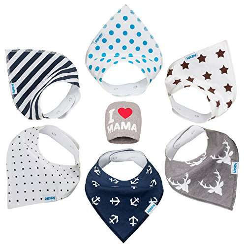 [Bandana Baby Bibs for Boys and Girls, with Snaps, 6 Pack Gift Set for Feeding, Drooling, Teething, PLUS FREE I LOVE MAMA Hat - BEST BABY SHOWER GIFTS for Mom, for newborn Baby, CUTE and Soft] (Paper Boy Hat)