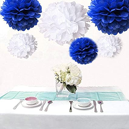 Amazon saitec pack of 12pcs royal blue white tissue paper saitec pack of 12pcs royal blue white tissue paper pom poms pompoms paper flower mightylinksfo