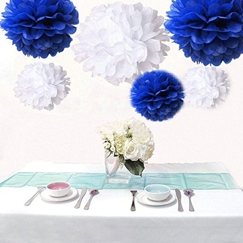 Saitec ® Pack of 12pcs Royal Blue & White Tissue Paper Pom Poms Pompoms Paper Flower Balls Birthday Party Decoration Holiday -