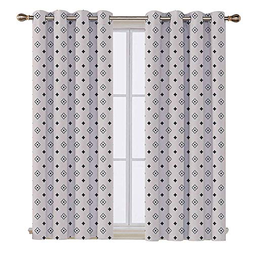 SATVSHOP Door Curtain - 96W x 84L Inch- Light Blocking Window Treatment for Bedroom Decor 2 Panels.Geometric Old Fashioned Wallpaper Dign with Floral Like Geometrical Icons Art Black and White.]()