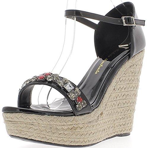 Barnizado de negro de tamaño grande compensada zapatillas tacón de 14,5 cm y plataforma de 5cm