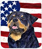 Caroline's Treasures Mouse/Hot Pad/Trivet, USA American Flag with Rottweiler (SS4009MP)