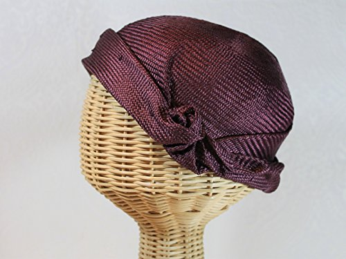 Rose Women's Straw Flapper Cloche in Mulberry by Bonnet
