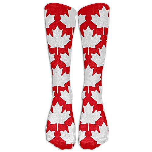 DaSOC Canada Maple Leaf Unisex Novelty Knee High Socks Athletic Tube Stockings One - To Shipping Usps Canada