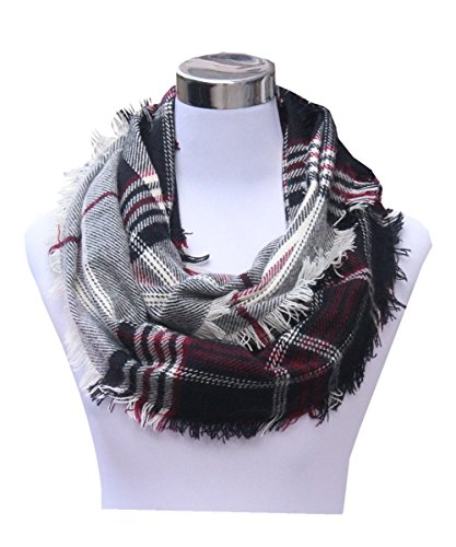 Lucky Leaf Women Winter Checked Pattern Cashmere Feel Warm Plaid Infinity Scarf (New-Black Red White) ()