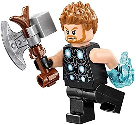 Amazon Com Lego Avengers Infinity War Minifigure Thor With Stormbreaker Hammer 2018 Toys Games