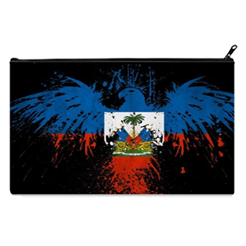 HAITI Vintage Flag plate Pencil Case pencil Bag Zipper Clutch Organizer Purse Bag Cosmetic Organizer Toiletry Bag(Twin sides)