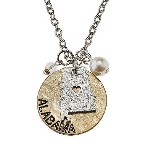 PammyJ Two-Tone Alabama Charm Cluster Pendant Necklace, 16