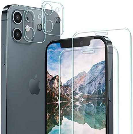 iPhone 12 HD Clear Tempered Glass Screen Protector + Camera Lens Protectors by Boolim [2+2 Pack], 9H Hardness, Case-Friendly, 3D Glass, Bubble-Free, Screen Protector Glass for iPhone 12