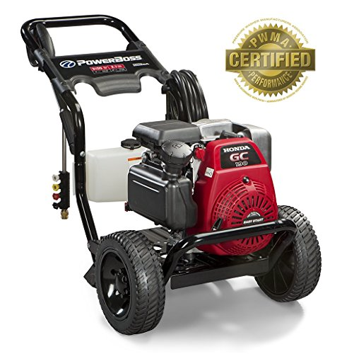 - PowerBoss Gas Pressure Washer 3100 PSI, 2.7 GPM Powered by HONDA GC190 Engine with 25' High Pressure Hose, 4 Nozzles & Detergent Tank