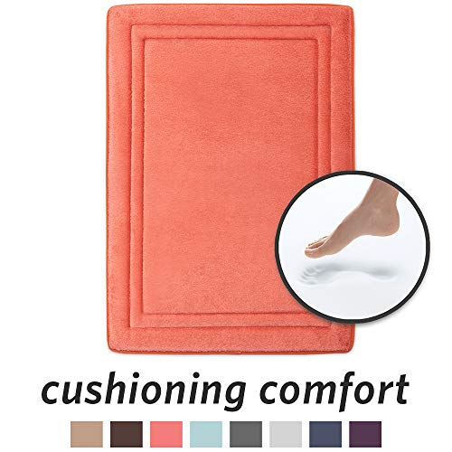 (MICRODRY Quick Drying Memory Foam Bath Mat with GripTex Skid-Resistant Base, 17x24, Coral)