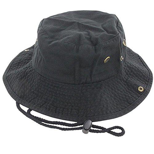 (9Proud Black Cotton Hat Boonie Bucket Cap Summer Men Women)