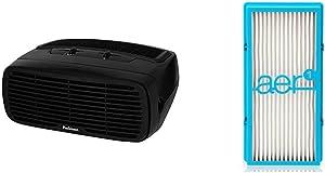 Holmes Type, 3 Speeds plus Optional Ionizer, HAP242B-U HEPA Desktop Air Purifier, Black & HAPF30AT Air Filter, Pack of 1, White