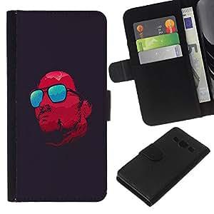 KLONGSHOP // Tirón de la caja Cartera de cuero con ranuras para tarjetas - Gafas rojas refrescan Satanás Oscuro - Samsung Galaxy A3 //