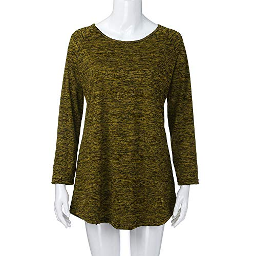 Jaune Aimee7 Casual Chic T Haut Chemise shirts Grande Taille Manche Top Longue Femme Blouse gB4gw6q