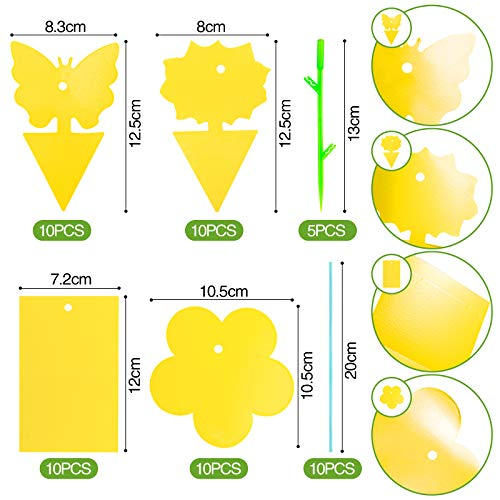 HAKACC Yellow Sticky Fly Traps, 40PCS Plant Fly Catcher Insect Sticky Board for Home Use Indoor Outdoor Plant Multiple Insect