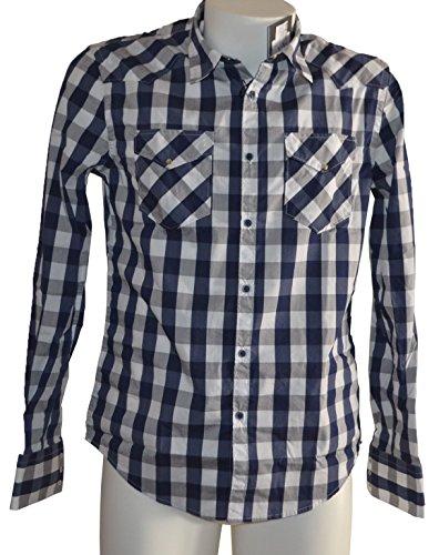 AGLINI Camicia Scacchi Bianco Blu