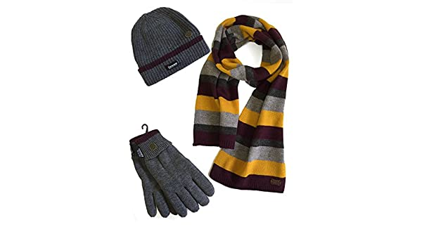 862d909e751 VEDONEIRE Mens Hat Scarf Gloves Set (3022) winter warm christmas gift (One  Size Fits All) (Grey Stripe Wool Mix Scarf + Grey Hat and Gloves) at Amazon  Men s ...