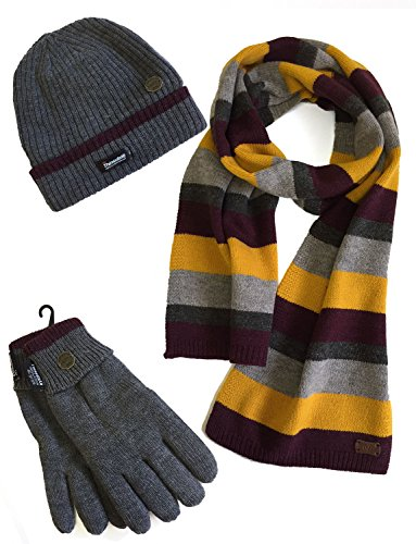 VEDONEIRE Mens Hat Scarf Gloves Set (3022) winter warm christmas gift (One Size Fits All) (Grey Stripe Wool Mix Scarf + Grey Hat and Gloves) (Stripe Mix Wool)