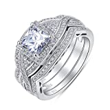 Sterling Silver 3 Pieces Princess Cut Cubic Zirconia CrissCross Infinity Engagement Wedding Ring Set