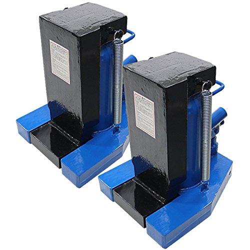 油圧式 爪付きジャッキ ブルー 爪部約25t 頭部約50t 2台 セット 油圧ジャッキ 爪ジャッキ ボトルジャッキ 爪式 ジャッキ 手動 ジャッキアップ 爪付 爪つき つめ付き ツメ付き 工具 修理 メンテナンス 作業 jackmh25000r2setblue (青) B076GXK8Y5 青