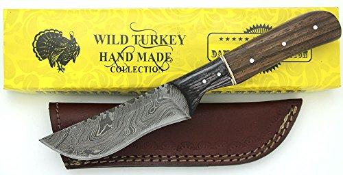 Wild Turkey Handmade Damascus Steel Collection Full Tang Heavy Duty Two Tone Wood Handle Fixed Blade Knife w/ Leather Sheath Hunting Camping Fishing Outdoors …